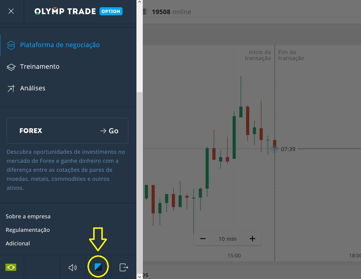 Alterar plano de fundo da interface Olymp Trade