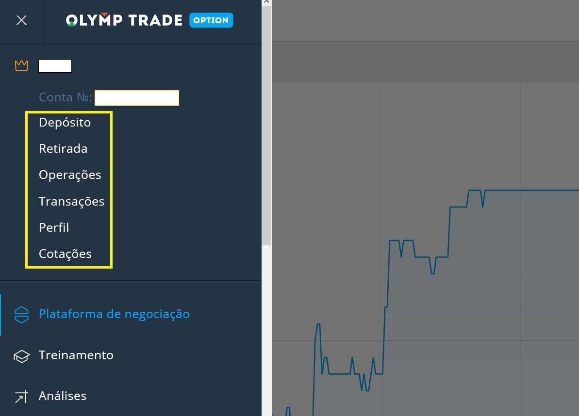 Configuração de tabulação no Olymp Trade