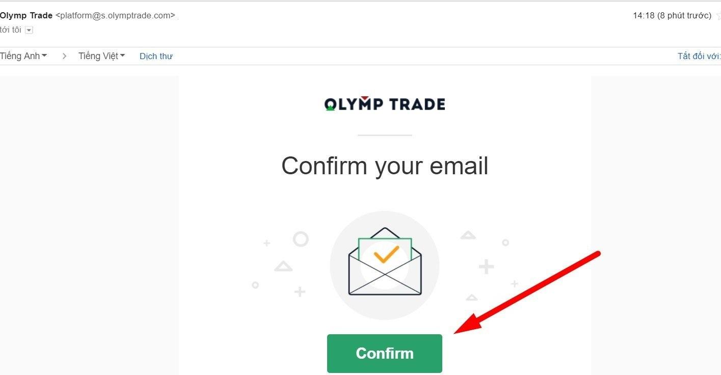 Confirme sua conta da Olymp Trade via e-mail