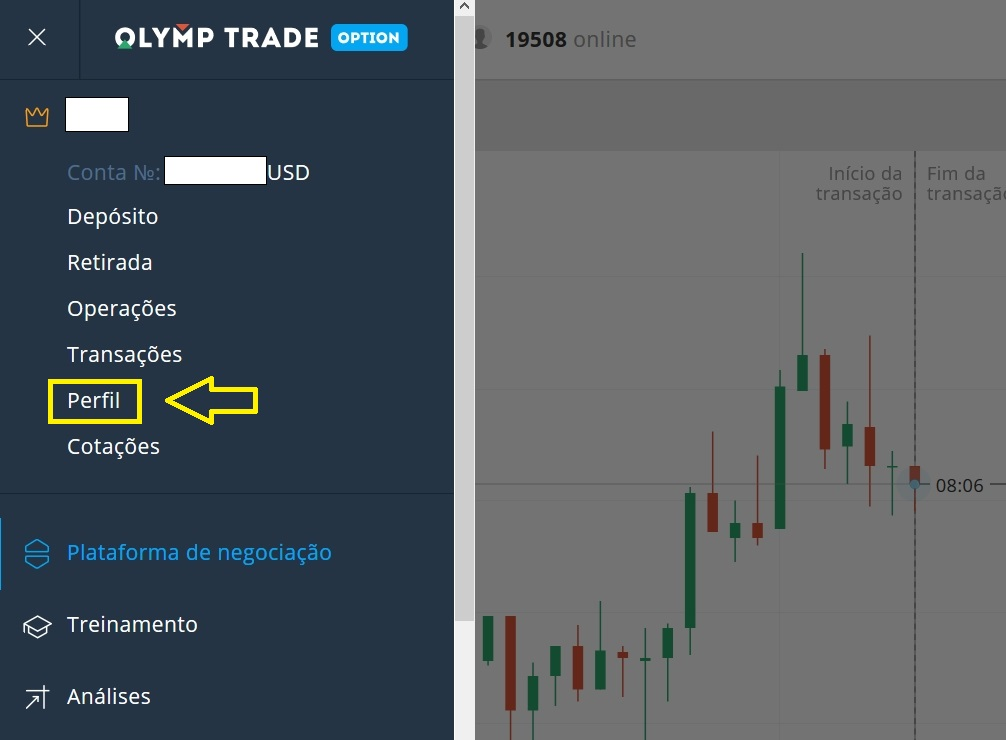 Personalize a interface no comércio da Olymp Trade