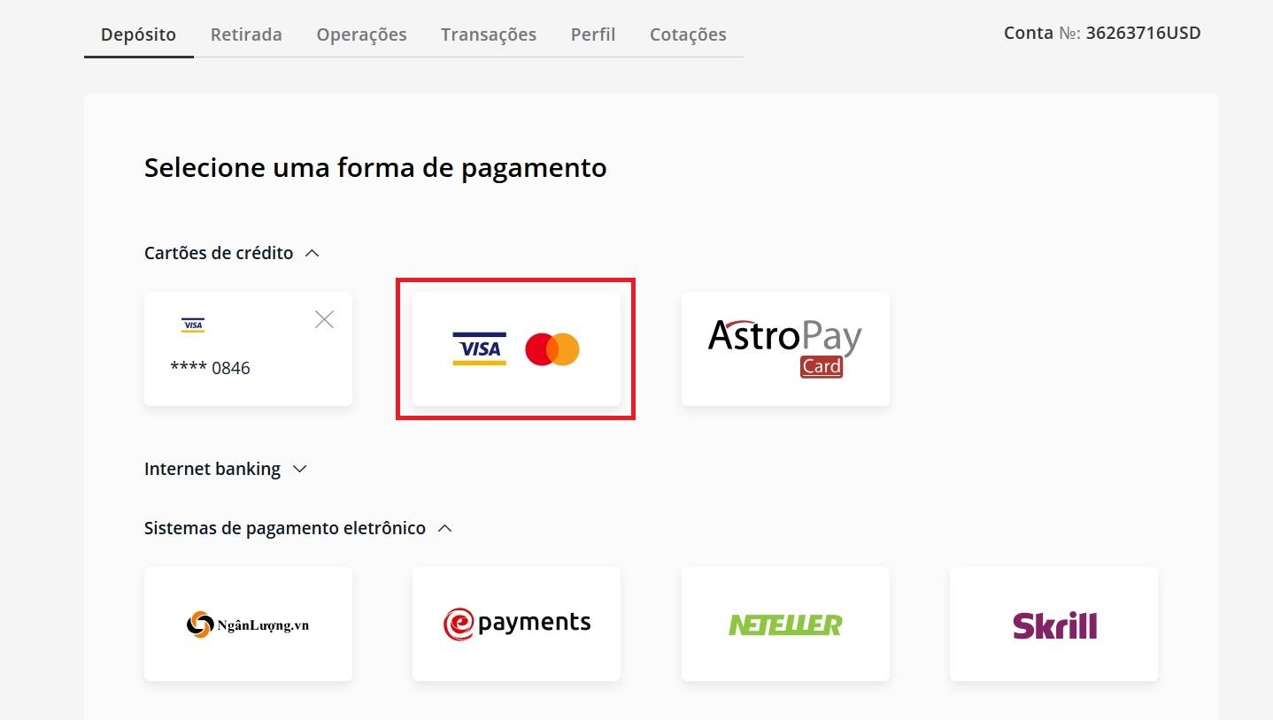 Selecione um método de pagamento em Olymp Trade