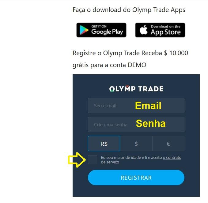 Um jeito mais rápido de registrar sua conta Olymp Trade