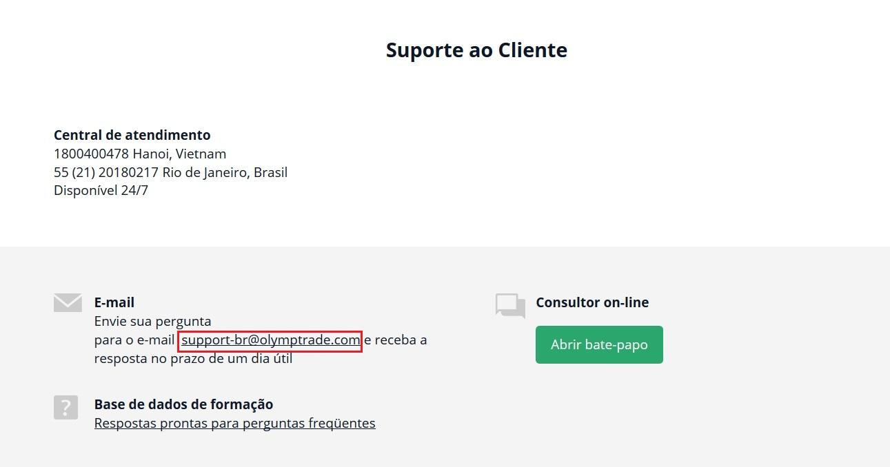 Você pode entrar em contato Olymp Trade por email