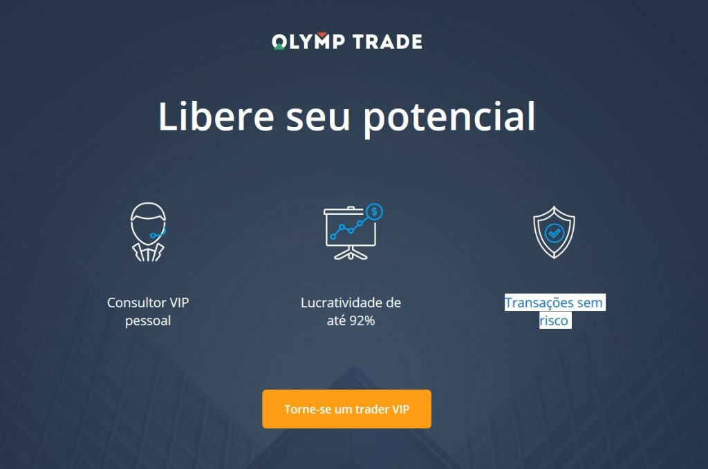 Como obter comércios sem risco na Olymp Trade?