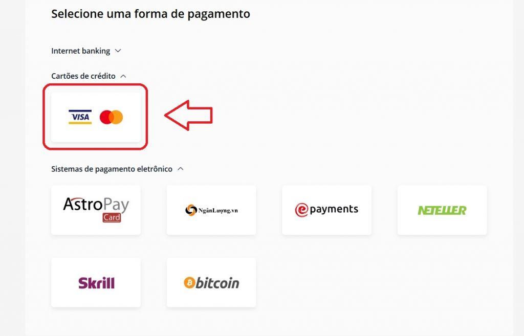 Escolha um método de pagamento na Olymp Trade