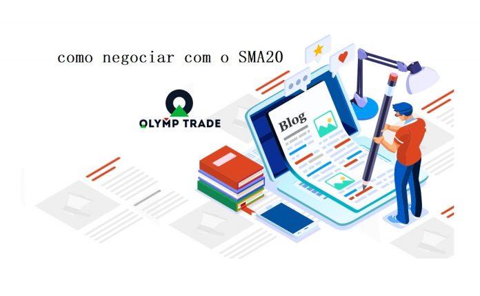 Como negociar com a linha SMA20 na Olymp Trade