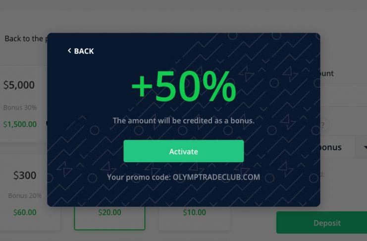 Ative o código promocional da Olymp Trade em sua conta.